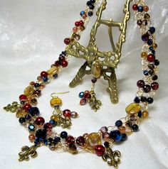 Wire Crochet Beaded Necklace Set in Red Gold and by HettyMarie