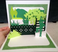 """Fruit picker pop-up card (Template from """"cahier_de_kirigami No. 5: Special Pop-up)"""