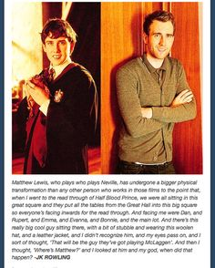 JK's reaction to when Matthew Lewis became attractive. My thoughts exactly!