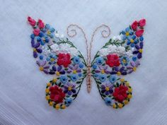 vintage floral butterfly embroidery hanky unused with