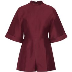 Valentino - Cotton And Silk-blend Playsuit (22,915 MXN) ❤ liked on Polyvore featuring jumpsuits, rompers, dresses, playsuits, romper, macacão, burgundy, playsuit jumpsuit, purple jumpsuit and playsuit romper