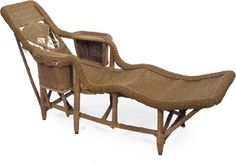 A Victorian wicker chaise longue century Bamboo Furniture, Antique Furniture, Outdoor Furniture, Outdoor Decor, Victorian Decor, Victorian Era, Old Wicker, Sun Lounger, 19th Century
