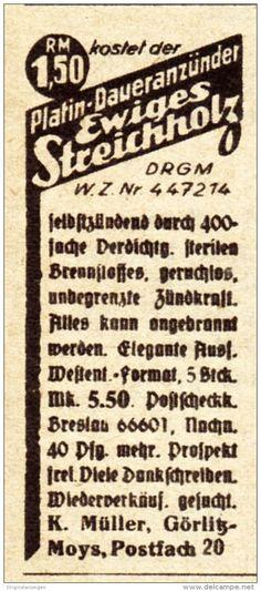 Original-Werbung / Anzeige 1938 - EWIGES STREICHHOLZ / MÜLLER - GÖRLITZ - MOYS - ca. 25 x 50 mm