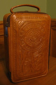 Vintage Hand Tooled Leather Toiletry Travel Luggage Case