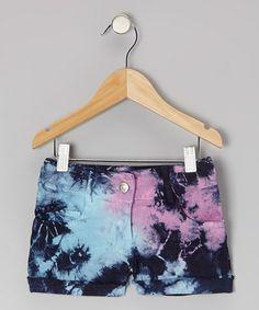 Navy Tie-Dye Shared Shorts - Girls #zulily #zulilyfinds