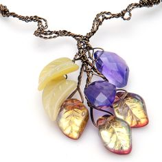 Amethyst Necklace, Purple Gold Beaded Necklace, Amethyst and Jade Necklace, Amethyst Leaf Necklace on Etsy, $56.95