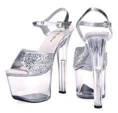 US  29.0  Große Größe 35 44 15 17 20 CM Dünne High Heels Frauen Kristall  Pumps Sexy Mode Transparente plattform Nachtclub Schuhe Glitter Silber in  Große ... 691c79fb89