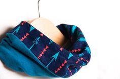 Toddler Scarf | Infinity scarf bib | Arrows in Navy | Stylish drooler bib | Dribble bib | 100% cotton | Baby, toddler adult | Special needs