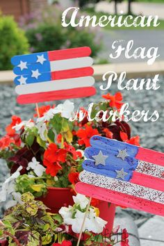 Easy American flag plant marker made from craft sticks. Cute 4th of July project for kids!