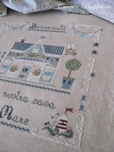 """Made with """"Vacanze al Mare"""" / """"Seaside Holidays""""  cross stitch pattern by Carolina Primi. Pattern avail. via Etsy shop  CuoreeBatticuore here: https://www.etsy.com/uk/shop/CuoreeBatticuoreShop?ref=l2-shopheader-name"""