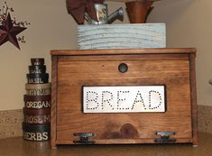 Rustic Bread Box Bin Wooden Punched Tin Storage Primitive Cupboard Counter Top Country Kitchen Handmade Wood