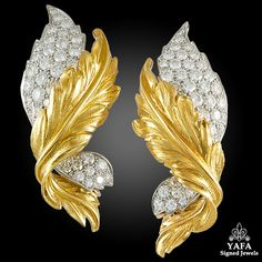 Vintage 18k yellow gld diamond leaf earrings, signed Verdura. Vintage and Estate Collection