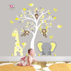 Jungle Wall Decal feat. cheeky monkey a giraffe and elephant around a white tree mural. Baby Wall Stickers. Grey and yellow nursery decor (74.95 GBP) by EnchantedInteriorsUK