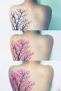 Cherry Blossoms tattoo on back