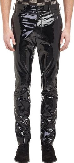 $939, Haider Ackermann Patent Leather Trousers Black. Sold by Barneys Warehouse. Click for more info: https://lookastic.com/men/shop_items/332553/redirect