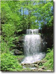 Buttermilk Falls at Buttermilk Falls Natural Area - Indiana County Parks, Clyde, PA;  45 feet high;  Interesting note:  Between 1931 and 1956 the property was owned by Fred McFeely, grandfather of Fred Rogers of children's television fame.