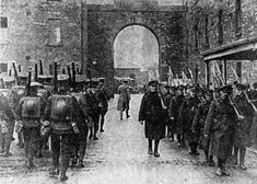 The Handover of Richmond Barracks, Inchicore, December 1922 Dublin Street, Dublin City, Old Pictures, Old Photos, Photo Engraving, Kingdom Of Great Britain, Republic Of Ireland, City Council, Dublin Ireland