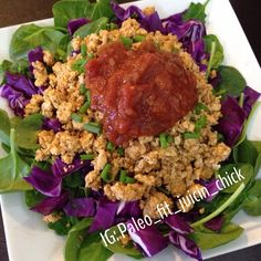 """Super simple """"taco salad"""" minus the taco for lunch. Lol  Made with ground chicken breast. Had a green apple with coconut butter too. SO GOOD!  https://www.facebook.com/TeamJERF"""