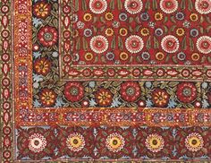 Beautiful cosy colours. Block printed cotton c.1920-30 by Usbek School.  via The Design Library - Bridgeman art images & historical footage for licensing