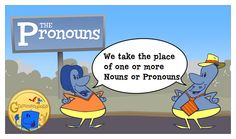 The Pronoun Neighborhood, featuring Roger the pronoun. A pronoun takes the place of one or more nouns or pronouns.