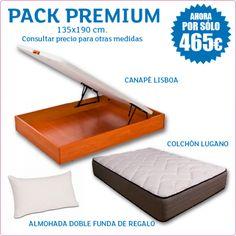 PACK CANAPÉ LISBOA + COLCHÓN LUGANO + ALMOHADA VISCOELASTICA DE REGALO (Pack Premium) Le ofrecemos un pack compuesto por nuestro canapé Lisboa, disponible en colores cerezo, blanco y wengué, con amortiguadores hidráulicos de gran resistencia y una altura total de 31 cm, con una sólida estructura ideal para almacenar todo aquello que necesite, combinado con nuestro colchón Lugano de 28 cm y viscoelástica Top Density con el que sentirá el perfecto equilibrio entre adaptabilidad y firmeza.