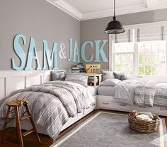 Love how the name is on 2 walls... would love to do it to the boys room