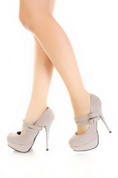 Grey Velvet Double Buckle Rhinestone Platform Mary Jane Pump Heels