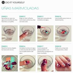 Tutorial uñas decoración en agua.