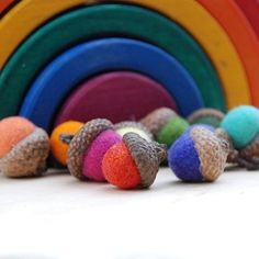 Felted Acorns – Rainbow Colors