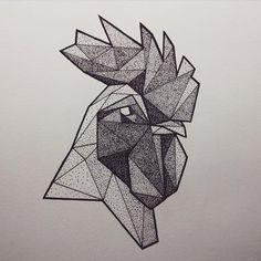 Dotwork geometric rooster head tattoo design - Tattooimages.biz