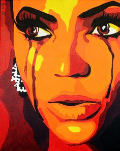 The color scheme used here is a warm color scheme.  I know this because the only colors being used are yellow orange and red (also colors in between).  The medium is paint, again.  QUESTION: why is beyonce crying in this painting? She is seemingly crying out blood, but i doubt that is actually what the artist was trying to project.  Do you think she is crying blood or tears? (prbly tears)...!