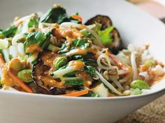 Brown Rice Bowl with Asian Vegetables and Sesame-Lime Dressing Serves four to six via Daily Candy