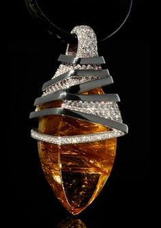 "Mousson Atelier Wind Collection """"Zephyr"""" Gold Rutile Quartz & Diamond Pendant P0036-0/1"