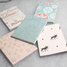 5 carnets de noel feuilles lignées motifs variés petit format couverture souple