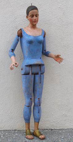 ❤︎   antique painted wood articulated mannequin  -  historia antiques