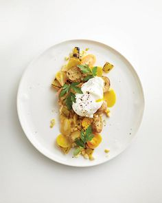 Yellow Salad with Roasted Potatoes and Poached Eggs