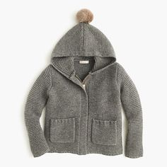 The perfect layering piece: This warm wool jacket has deep patch pockets, a useful hidden zipper and an ear-warming hood with a pom-pom on top!  <ul><li>Wool.</li><li>Patch pockets.</li><li>Hand wash.</li><li>Import.</li><li>Online only.</li></ul>  I'm a 12 in tops at crewcuts and a 10 in pants