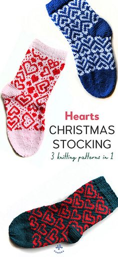 Ravelry: Christmas stockings HEARTS pattern by Anne Mende Knitting Designs, Knitting Projects, Knitting Patterns, Free Crochet, Knit Crochet, Crochet Hats, Ravelry, Christmas Crochet Patterns, Knitted Slippers