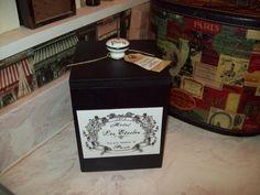 SHABBY black Paris canister box organizer by JulieannasCreations