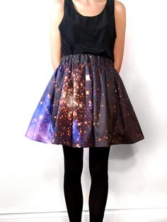 Starburst Cluster Pixel Galaxy Space Skirt  Cotton sateen custom printed skirt with real images of Hubble Telescope. Generally one size fits all, check below for actual measurements. Each skirt is completely unique and hand-made.