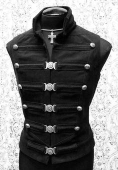 steampunk couture clothing | DOMINION VEST - BLACK DENIM