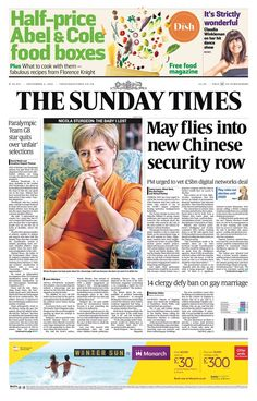 """""""Sunday Times front page: May flies into new Chinese security row Abel And Cole, Claudia Winkleman, What Recipe, Team Gb, The Sunday Times, New Chinese, What To Cook, News Online, Free Food"""