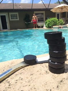 Twitter fan @jeffrey_goldman gets his hockey fix by the pool. #IsItOctoberYet?