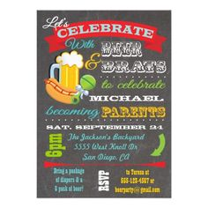 Beer, Brats and Diaper Baby Shower for Paren to be Custom Invites