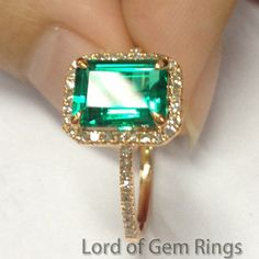 $350 Emerald Shape Emerald Engagement Ring  Pave Diamond Wedding 14K Rose Gold 6x8mm - Lord of Gem Rings - 1