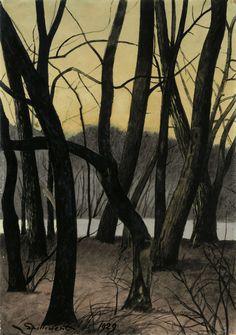Léon Spilliaert (Belgian, Boomstammen [Tree trunks], Watercolour and gouache on prepared board, x cm. Michael Borremans, Tree Trunks, Gouache, Les Oeuvres, Pastels, Landscape Paintings, Modern Art, Abstract, Illustration