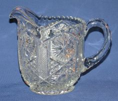 """EAPG Small Glass Creamer Pitcher, 4.75""""H"""
