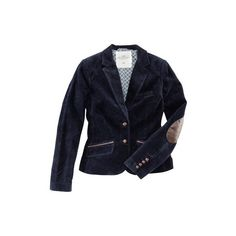 Corduroy Blazer - from H&M ❤ liked on Polyvore featuring outerwear, jackets, blazers, tops, corduroy blazer jacket, blue blazer jacket, blue jackets, fitted blazer jacket and checked blazer