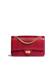 Handbags of the Spring-Summer 2018 Pre-Collection CHANEL Fashion collection : Handbag, python & gold-tone metal, burgundy on the CHANEL official website. Chanel Handbags, Fashion Handbags, Fashion Bags, Chanel Bags, Women's Handbags, Bordeaux, Python, Chanel Reissue, Chanel Store