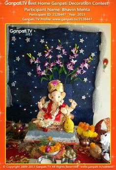 Bhavin Mehta Home Ganpati Picture 2013. View more pictures and videos of Ganpati Decoration at www.ganpati.tv